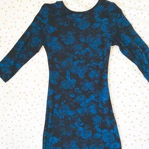 Club L Bodycon Rose Print Midi Dress